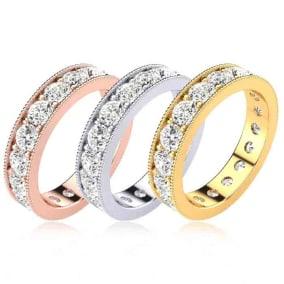 Eternity Ring Size 4-9.5, 2 Carat Round Diamond Milgrain Eternity Ring In 14K White Gold, Yellow Gold, Rose Gold and Platinum
