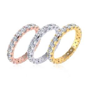 Eternity Ring Size 4-9.5, 2 Carat Round Diamond Comfort Fit Eternity Ring In 14K White Gold, Yellow Gold, Rose Gold and Platinum