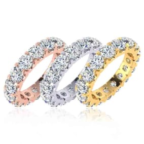 Eternity Ring Size 4-9.5, 3.20 Carat Diamond Comfort Fit Eternity Ring In 14 Karat White Gold, Yellow Gold, Rose Gold and Platinum
