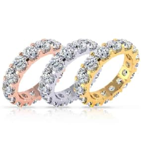 Eternity Ring Size 4-9.5, 3 3/4 Carat Diamond Comfort Fit Eternity Ring In 14 Karat White Gold, Yellow Gold, Rose Gold and Platinum