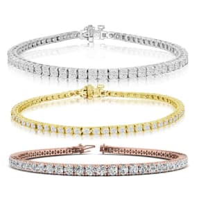 4 3/4 Carat Diamond Mens Tennis Bracelet In 14 Karat White, Yellow and Rose Gold Available In 7.5-9 Inch Lengths