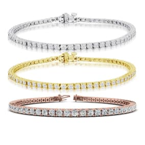 3 1/2 Carat Diamond Mens Tennis Bracelet In 14 Karat White, Yellow and Rose Gold Available In 7.5-9 Inch Lengths