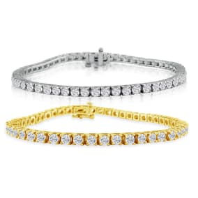 6 Carat Diamond Mens Tennis Bracelet In 14 Karat White and Yellow Gold Available In 7.5-9 Inch Lengths