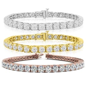 11 Carat Diamond Mens Tennis Bracelet In 14 Karat White, Yellow and Rose Gold Available In 7.5-9 Inch Lengths