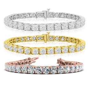 13 Carat Diamond Mens Tennis Bracelet In 14 Karat White, Yellow and Rose Gold Available In 7.5-9 Inch Lengths
