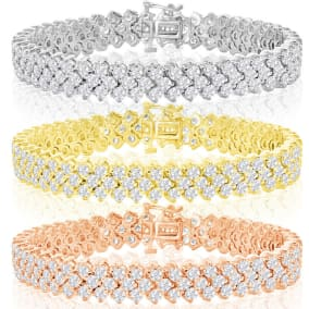 13 Carat Three Row Diamond Mens Tennis Bracelet In 14 Karat White, Yellow and Rose Gold Available In 7.5-9 Inch Lengths
