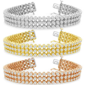 9 Carat Three Row Diamond Mens Tennis Bracelet In 14 Karat White, Yellow and Rose Gold Available In 7.5-9 Inch Lengths