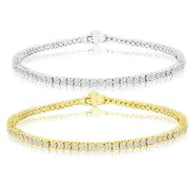 2.40 Carat Diamond Mens Tennis Bracelet In 14 Karat White and Yellow Gold Available In 7.5-9 Inch Lengths