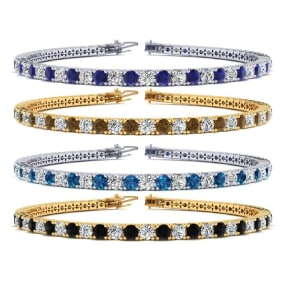 4 Carat Gemstone and Diamond Mens Tennis Bracelet In 14 Karat White and Yellow Gold Available In 7.5-9 Inch Lengths