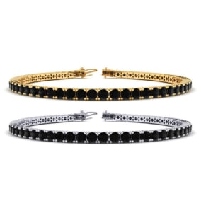 3 Carat Mens Black Diamond Bracelet in 14 Karat White and Yellow Gold Available In 7.5-9 Inch Lengths