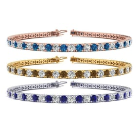 5 Carat Gemstone and Diamond Mens Tennis Bracelet In 14 Karat White, Yellow and Rose Gold Available In 7.5-9 Inch Lengths