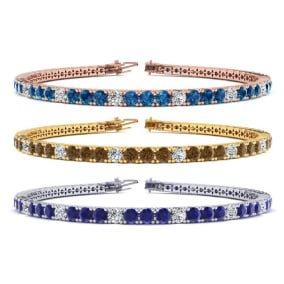 5 ½ Carat Gemstone and Diamond Alternating Mens Tennis Bracelet In 14 Karat White, Yellow and Rose Gold Available In 7.5-9 Inch Lengths