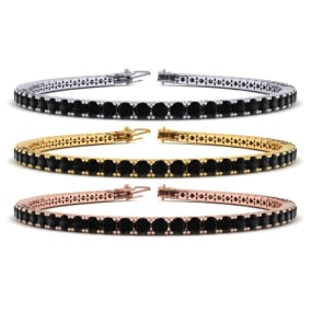 4 1/2 Carat Mens Black Diamond Bracelet in 14 Karat White, Yellow and Rose Gold Available In 7.5-9 Inch Lengths