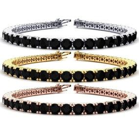 10 1/2 Carat Mens Black Diamond Bracelet in 14 Karat White, Yellow and Rose Gold Available In 7.5-9 Inch Lengths