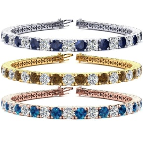 13 1/2 Carat Gemstone and Diamond Mens Tennis Bracelet In 14 Karat White, Yellow and Rose Gold Available In 7.5-9 Inch Lengths