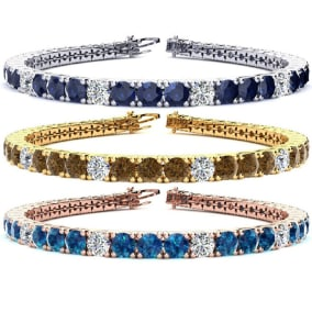 14 1/2 Carat Gemstone and Diamond Alternating Mens Tennis Bracelet In 14 Karat White, Yellow and Rose Gold Available In 7.5-9 Inch Lengths