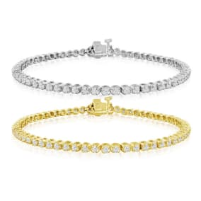 2 ¼ Carat Diamond Mens Tennis Bracelet In 14 Karat White and Yellow Gold Available In 7.5-9 Inch Lengths