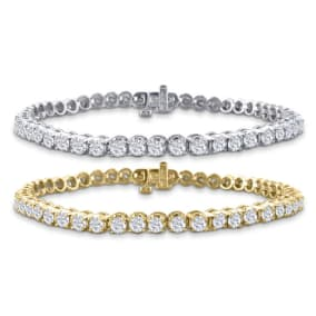 3 1/2 Carat Diamond Mens Tennis Bracelet In 14 Karat White and Yellow Gold Available In 7.5-9 Inch Lengths
