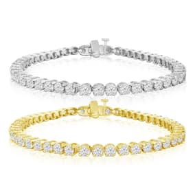 5 3/4 Carat Diamond Mens Tennis Bracelet In 14 Karat White and Yellow Gold Available In 7.5-9 Inch Lengths