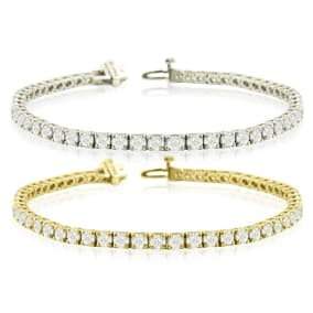 9 3/4 Carat Diamond Mens Tennis Bracelet In 14 Karat White and Yellow Gold Available In 7.5-9 Inch Lengths