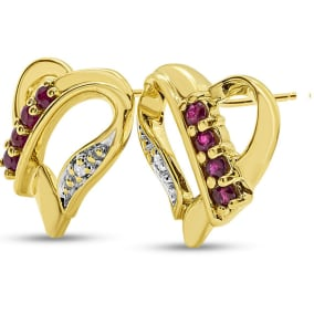 Previously Owned 1/4 Carat Ruby and Diamond Heart Stud Earrings In 10K Yellow Gold