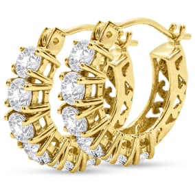 Previously Owned 1 1/5 Carat CZ Hoop Earrings In 14 Karat Yellow Gold, 1/2 Inch