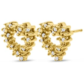 Previously Owned 1/4 Carat Diamond Heart Stud Earrings In 14 Karat Yellow Gold