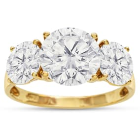 Previously Owned 4 Carat CZ Three Stone Ring In 14 Karat Yellow Gold, Size 8