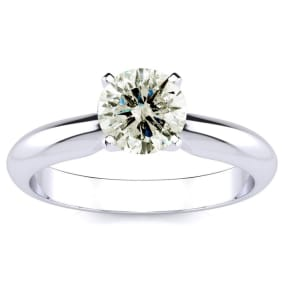 1.25 Carat Diamond Solitaire Engagement Ring In 14K White Gold. Incredible Deal On A Diamond Much Bigger Than 1 Carat