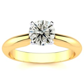 1.25 Carat Diamond Solitaire Engagement Ring In 14K Yellow Gold. Incredible Deal On A Diamond Much Bigger Than 1 Carat