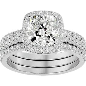 3 1/4 Carat Cushion Cut Halo Moissanite Bridal Set In 14 Karat White Gold