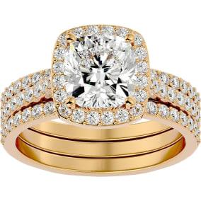 3 1/4 Carat Cushion Cut Halo Moissanite Bridal Set In 14 Karat Yellow Gold