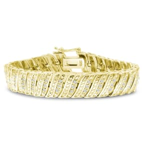 1 Carat Diamond Wave Bracelet With Yellow Gold Overlay, 7 Inches. Sold Out In 1 Day And Finally Back In Stock!