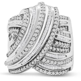 1 Carat Round and Baguette Colorless Diamond Swirl Band Ring In Sterling Silver.  This Ring Is Huge & Amazing!
