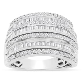 1 Carat Baguette and Round Colorless Diamond Band Ring In Sterling Silver