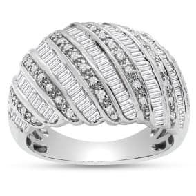 1 Carat Baguette and Round Colorless Diamond Dome Band Ring In Sterling Silver. Brand New Amazing Ring!