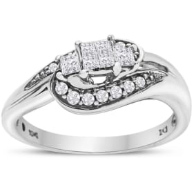 Previously Owned 1/2 Carat Princess and Round Diamond Ring In White Gold, Size 6