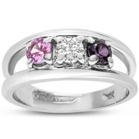 Previously Owned 1/3 Carat Multi Gemstone Ring In 14 Karat White Gold, Size 5.5