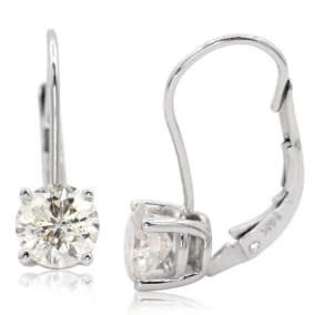1 1/2 Carat Moissanite Leverback Earrings In 14 Karat White Gold