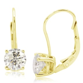 1 1/2 Carat Moissanite Leverback Earrings In 14 Karat Yellow Gold