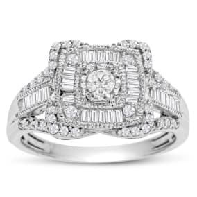 Previously Owned 3/4 Carat Baguette and Round Diamond Engagement Ring In White Gold, Size 7