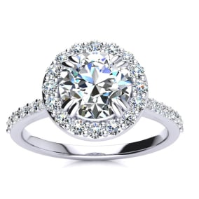2 Carat Halo Diamond Engagement Ring in Platinum