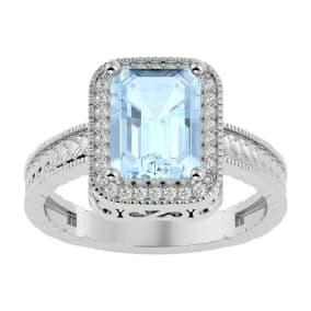 2 1/2 Carat Antique Style Aquamarine and Diamond Ring in 14 Karat White Gold