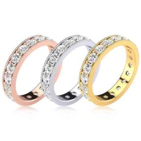 Eternity Ring Size 4-9.5, 1 Carat Round Moissanite Milgrain Eternity Ring In 14K White Gold, Yellow Gold, Rose Gold and Platinum