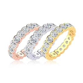 Eternity Ring Size 4-9.5, 1 1/2 Carat Round Moissanite Bezel Set Eternity Ring In 14K White Gold, Yellow Gold, Rose Gold and Platinum