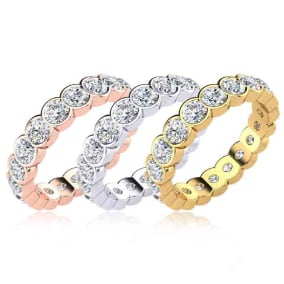 Eternity Ring Size 4-9.5, 2 Carat Round Moissanite Bezel Set Eternity Ring In 14K White Gold, Yellow Gold, Rose Gold and Platinum