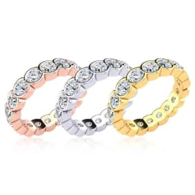 Eternity Ring Size 4-9.5, 2.70 Carat Moissanite Bezel Set Eternity Ring In 14 Karat White Gold, Yellow Gold, Rose Gold and Platinum