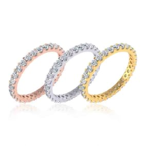 Eternity Ring Size 4-9.5, 1 Carat Round Moissanite Comfort Fit Eternity Ring In 14K White Gold, Yellow Gold, Rose Gold and Platinum