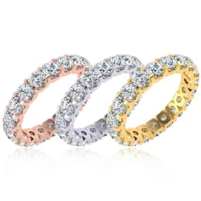 Eternity Ring Size 4-9.5, 2.70 Carat Moissanite Comfort Fit Eternity Ring In 14 Karat White Gold, Yellow Gold, Rose Gold and Platinum