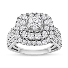 1 1/4 Carat Double Halo Diamond Engagement Ring In White Gold